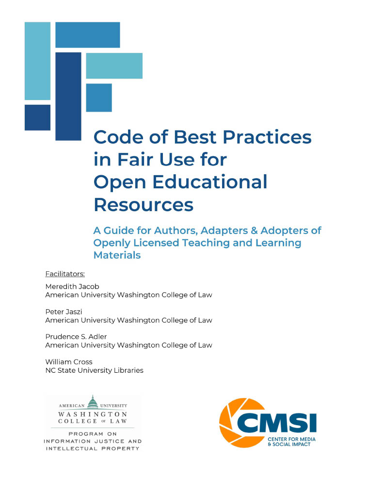 Cover image for Code of Best Practices in Fair Use for Open Educational Resources