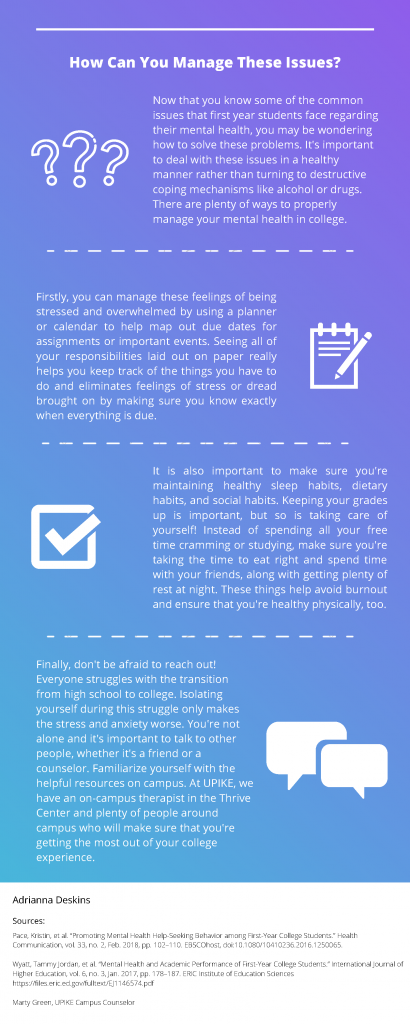 Infographic explaining how to maintain your mental health, highlighting issues that students commonly face.