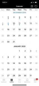 Image of the Canvas Calendar from the Canvas Mobile App for smartphones