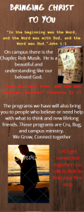 Infographic describing the various christian groups on campus.