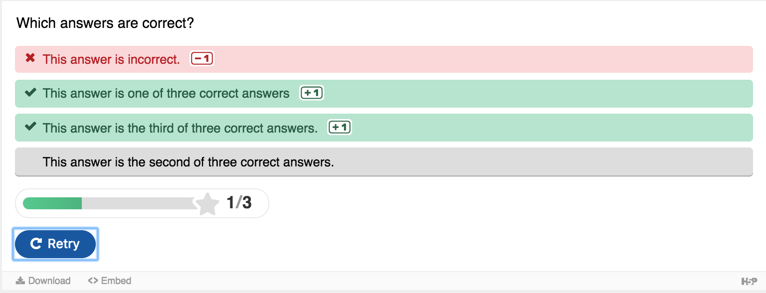image of a quiz question that has three correct answers; this user has chosen two correct answers and a third incorrect answer. The score they receive is 2 of 3, and the incorrect answer is highlighted in red on their screen